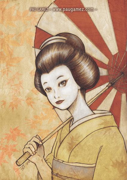 Ilustración Geisha - by Pau Gámez