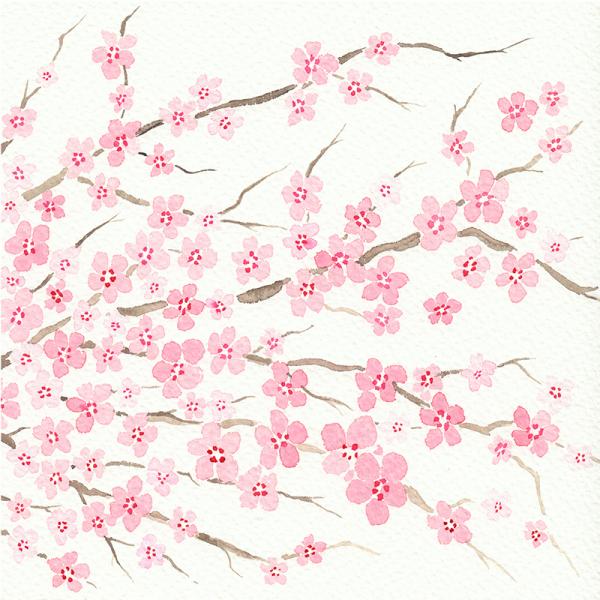 Colección acuarelas motivos japoneses invierno - Ume