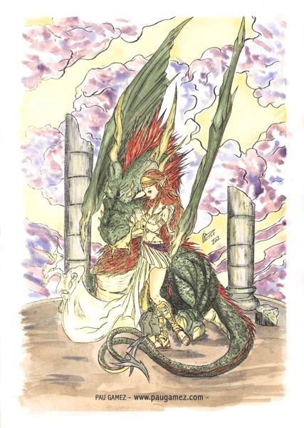 Ilustración Laidy & Dragon - by Pau Gámez