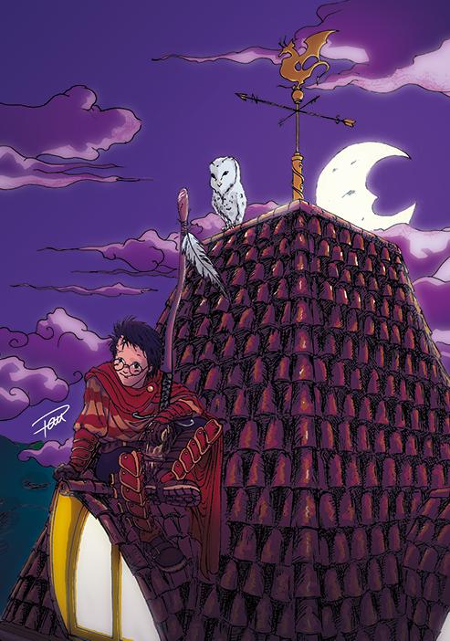 Harry Potter on the roof fan art by Pau Gamez