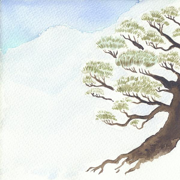 Colección acuarelas motivos japoneses invierno - Pino